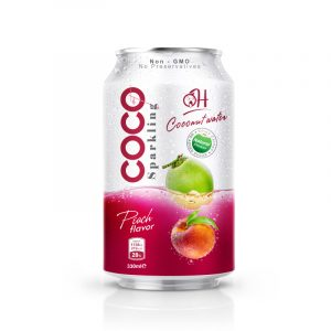 Sparkling TDT Coconut water 330ml_ Peach