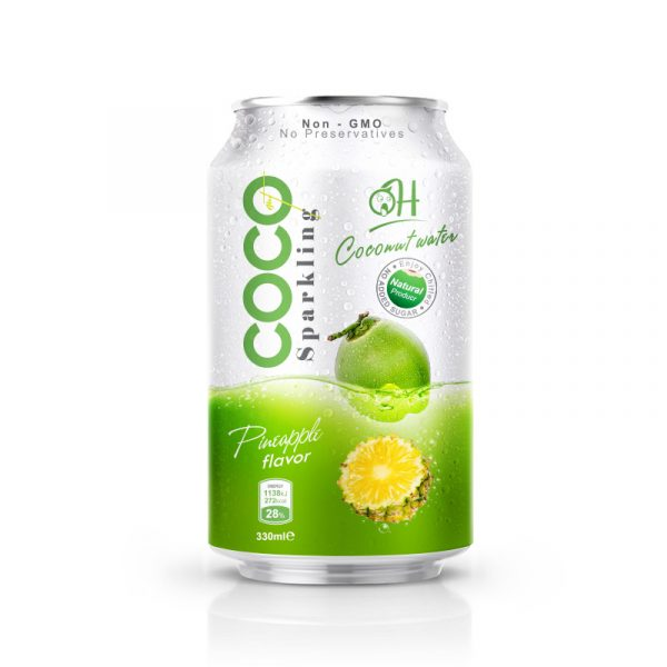 TDT Sparkling Coconut water 330ml_ Pineapple